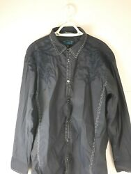 Menand039s Roar Signature Navy Blue Embroidered Long Sleeve Shirt Size Xl
