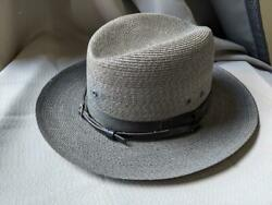 1960s Vintage Stratton Straw Sheriff Law Enforcement Police Top Hat 7-7/8 Gray