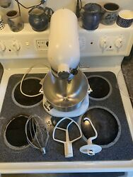 Kitchenaid Mixer K5-ss White With Bowl And Attachments