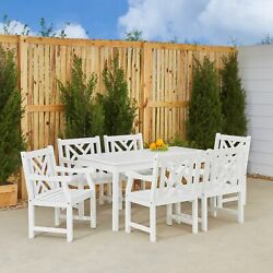 Bradley Rectangular Table And Armchair Outdoor Wood Dining Set 9