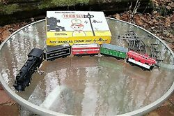 1950s Marx Toys Mechanical Wind Up Train Set Complete In Box Tin Litho Cars