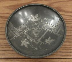 Antique Hand Engraved Aesthetic Movement Silverplate Bowl Floral/eastlake 6andrdquo