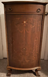 Unique Antique Solid Wood Sheet Music Cabinet, Mother Of Pearl Inlay.key Lock.
