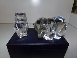 Lot Of 2 Art Glass Figurines Owl And Bear Paperweight Lead Crystal Germany Usa