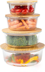 Glass Meal Prep Containers With Bamboo Lids, 4 Pack - Airtight Clear Food Storag