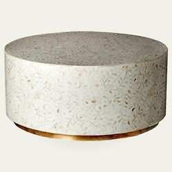 Brass Bone Inlay Round Drum Coffee Table White Floral Made To Order