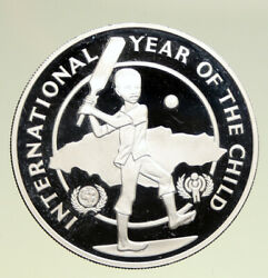 1979 Jamaica Year Of The Child Cricket Old Vintage Proof Silver 10 Coin I94931