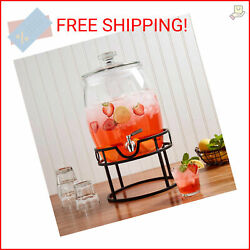 Mason Craft And More Glass Belly Drink Dispenser With Stainless Steel Spigot And I