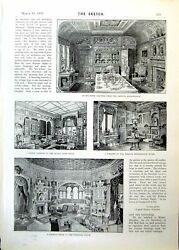 Antique Old Print Room Adaptations French Renaissance Queen Anne Italian 1893