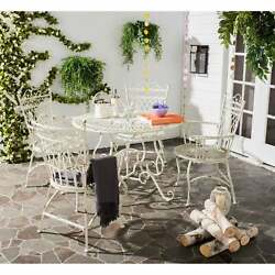 Safavieh Outdoor Living Thessaly Victorian Scroll Iron Antique Table39.25x39.2