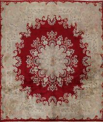 Vintage Vegetable Dye Kirman Red Area Rug Hand-knotted Oriental 10'x10' Square