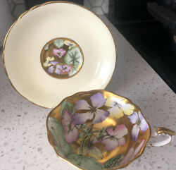 Paragon Fine Bone China. Cup And Saucer Gold And Yellow Andldquoflowerandrdquo Heavy Gold