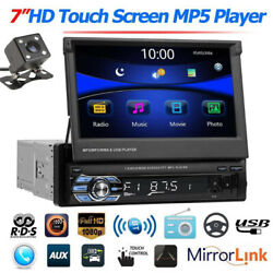 7 Single 1din Flip Out Stereo Car Radio Mp5 Player Touch Screen Bt Usb + Camera