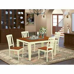 Kitchen Dining Table Set Includes Wooden Dining Table And White 5-piece Sets
