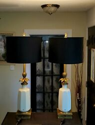 Mid Century Hollywood Regency Porcelain And Brass Stiffel Lenox Torchiere Lamps