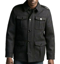 Express Gray Recycled Wool Four Pocket Water Resistant Military Coat Jacket Xs