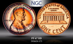 1969-s Lincoln Memorial U.s 1 Cent Ngc Pf 67 Rb Target Toned Proof High Grade