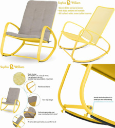 Sophia And William Outdoor Rocking Chairs Patio Metal Rocker Chair With Yellow