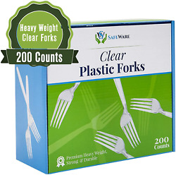 Safeware 200 Clear Plastic Forks Heavy Duty Disposable Utensil Silverware For