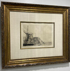 """Rembrandt Van Rijn -etching -'the Windmill' Signed Matted W/ Frame 18.75""""x16.25"""""""