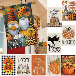 Fall Gnomes Humor Garden Flag Autumn Patterned Pumpkins Welcome Fall 12.5*18quot;
