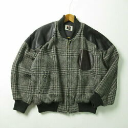 I.s. Issey Miyake 80's Sports Vintage Leather Patches Tweed Bomber Jacket Mens