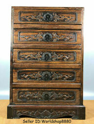 20 Old Chinese Huanghuali Wood Carved Dynasty Palace 5 Drawer Antique Furniture