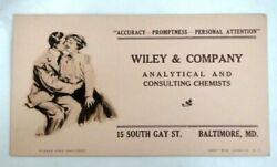 Antique Wiley Analytical Consulting Chemist Baltimore Md Ink Blotter Paper Kiss