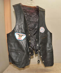 Vintage Leather Vest With Extenders 3xl Worn Rochester Ny Patch Motorcycle L3