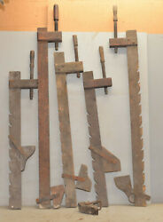 5 Antique Primitive Old Woodworking Bar Clamps Collectible Early Wood Glue Up