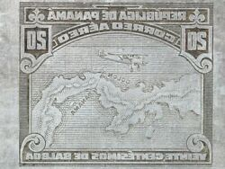 American Bank Note Company Panama Printing Plate Airplane Over Map