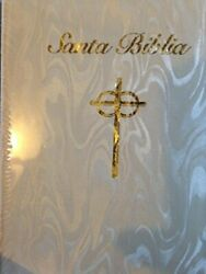 Bib Spanish Deluxe Bride's Bible 4644-76 White Bonded Leather With Gold F Book