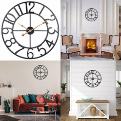 30 Inch Oversized Metal Wall Clock, Vintage Industrial Cut Out 30 Inch, Black