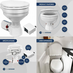 Tmc Marine Electric Toilet Large Bowl With Macerator Pump For Boats And Rvs...