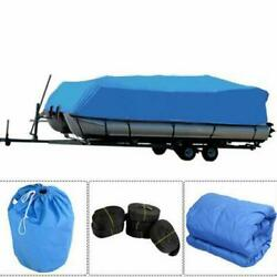 17-20' Blue Heavy Duty Fabric Boat Cover/5 Roll Of Black Straps/storage Bag