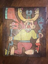 Native American Indian Original Oil Painting On Leather