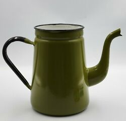 Vintage Farmhouse Green Enamel Tea Pot. No Lid. Could Be Used As A Planter. Nice