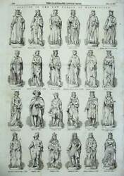 Old Antique Print 1855 Statues Westminster Palace King Queen Charles Anne 19th