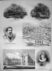 Antique Old Print 1362 C1890 Holyrood Palace Queen Anne Denmark King James