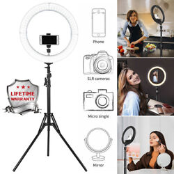 18'' Large Led Smd Ring Light Kit With Stand Dimmable For Makeup Phone Camera Us
