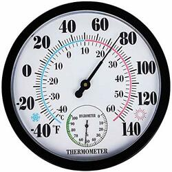 Decorative Wall Large Indoor Outdoor Round Garden Patio Thermometer Hygrometer