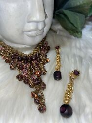 Miriam Haskell Gripoix Amethyst Cleopatra Style Necklace And Earring Set B12