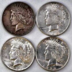 Group Of 4 Peace Silver Dollars Includes 1922p, 1923p, 1925p, 1935s Free Ship