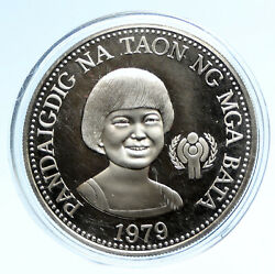 1975 Philippines Year Of The Child Vintage Old Proof Silver 50 Piso Coin I95748