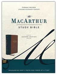 Esv Macarthur Study Bible 2nd Edition Soft Leather-look Brown Indexed Brand New