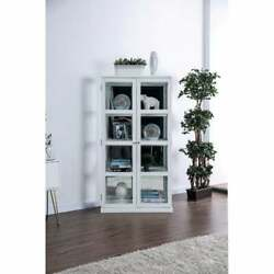 Transitional Wooden Curio Cabinet With Two Glass Doors And White