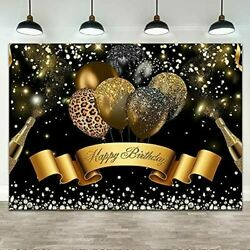 Ticuenicoa 7andtimes5 Ft Black Gold Birthday Backdrop Leopard Banner Decorations New