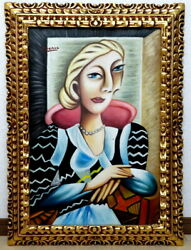 Pablo Picasso Sitting Woman Museum History Sticker Gallery Seal There Is Sign Of