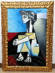 Pablo Picasso Woman Sitting In Triangle Moma Sticker Gallery Seal There Is Sign
