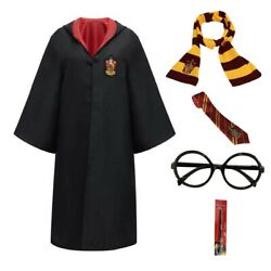 Harry Potter Kids Adult Cosplay Costume Robes Cloak With Tie Scarf Wand Glasses